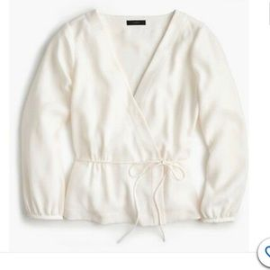 J Crew White Wrap Long Sleeve Top